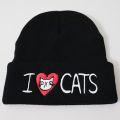 Вязаная шапка с отворотом и вышивкой I love cats (Я люблю кошек), черная