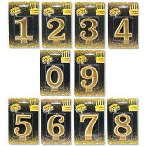 свеча цифра золотая 8см