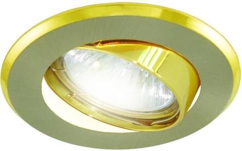 Светильник встраиваемый поворотный СВ 02-03 MR16 50Вт G5.3 матовый никель/золото TDM