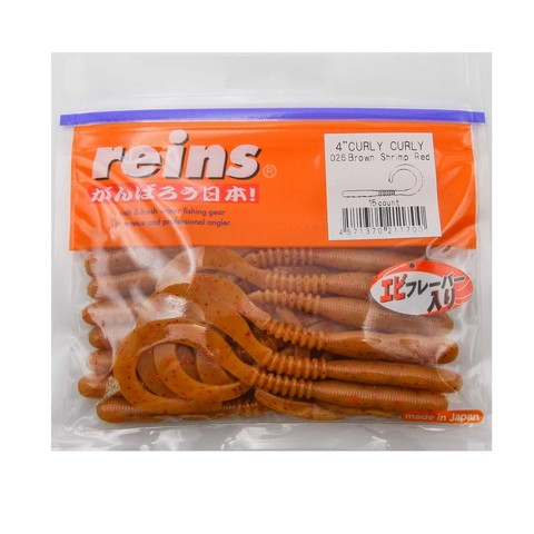 Приманка силиконовая Reins Curly Curly 4 (упак. 15 шт.) /  026 Brown Shrimp Red
