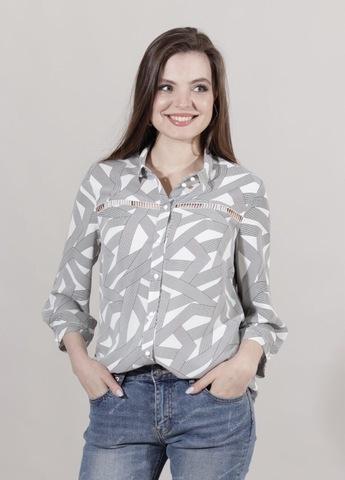Блузка Elite 2418 рубашка геометрия 3/4 (В21)