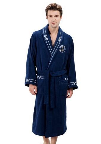 Банный мужской халат MARINE синий