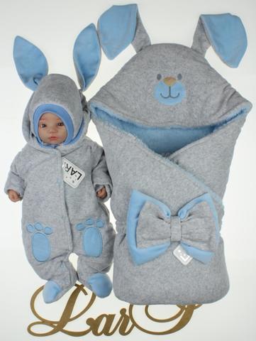 Зимний набор на выписку новорожденных Зайка  (серый/голубой)