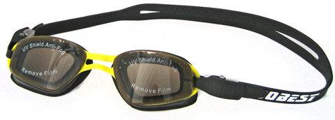 Очки для плавания Dobest HJ-14, черный/желтый