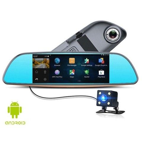 Видеорегистратор в зеркале XPX ZX857 2-t камеры  в зеркале заднего обзора + камера заднего вида  Android