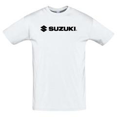 Футболка с принтом Сузуки (Suzuki) белая