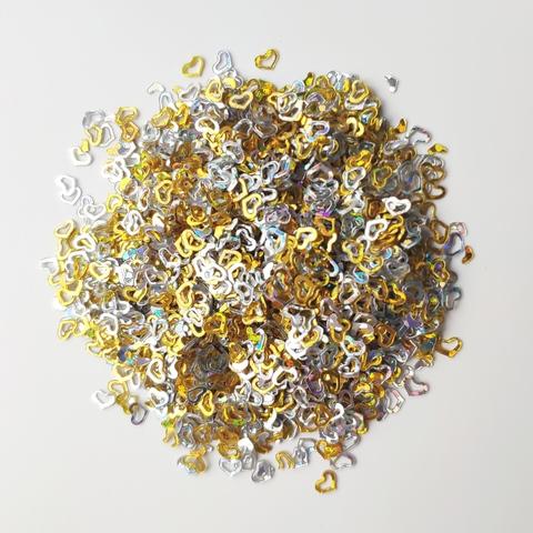 Посыпка для слайма сердечки золото и серебро 30мл