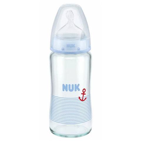NUK Бутылочка First Choice Plus стеклянная с соской из силикона, 240 мл 0-6 мес.