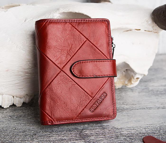 WL287-3 Красный кошелек из натуральной кожи на застежке