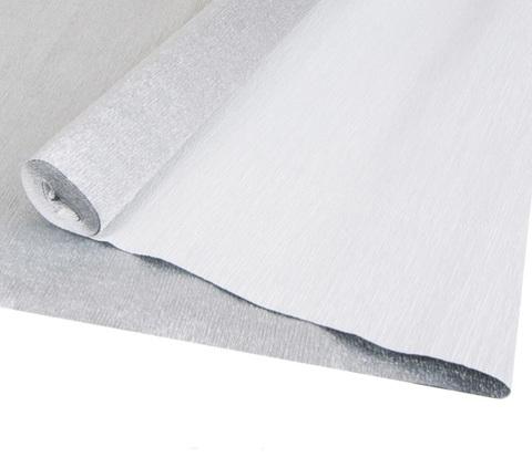 Бумага гофрированная металл, цвет 802 серебряный, 180г, 50х250 см, Cartotecnica Rossi (Италия)