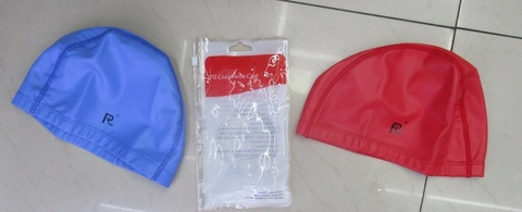 Шапочка для плавания, тканевая, прорезиненная (в пакете)
