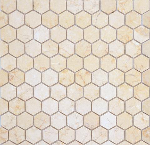 Мозаика LeeDo: Pietrine Hexagonal - Botticino матовая 29,5x30,5х0,6 см (чип 18х30х6 мм)