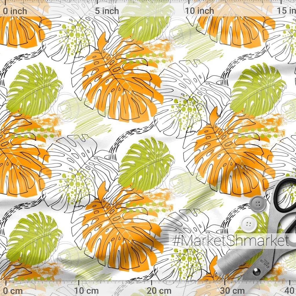 Оранжевые листья монстеры