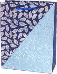 Пакет подарочный, Вальс листьев, Синий, Металлик, 23*18*8 см
