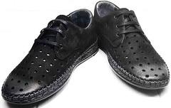 Летние мокасины мужские туфли перфорированная кожа смарт кэжуал Luciano Bellini 91754-S-315 All Black.
