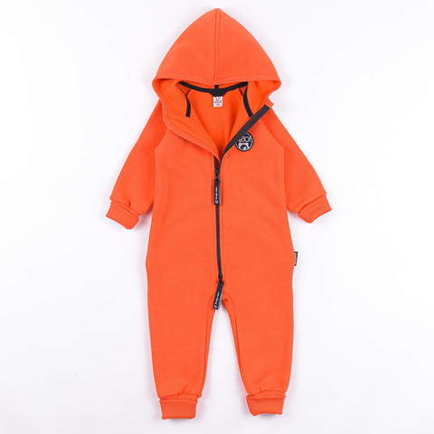 Warm hooded jumpsuit with flap - Coral