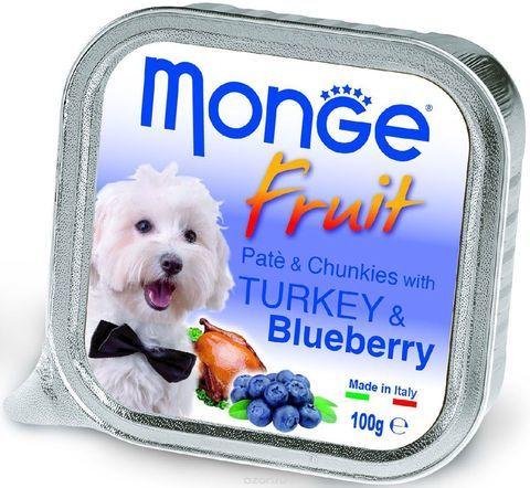 Купить консервы Monge Fruit Turkey & Blueberry для собак индейка с черникой 100г