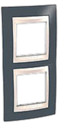 Рамка на 2 поста. Цвет вертикальная Серо-зеленый/бежевый. Schneider electric Unica Хамелеон. MGU6.004V.577