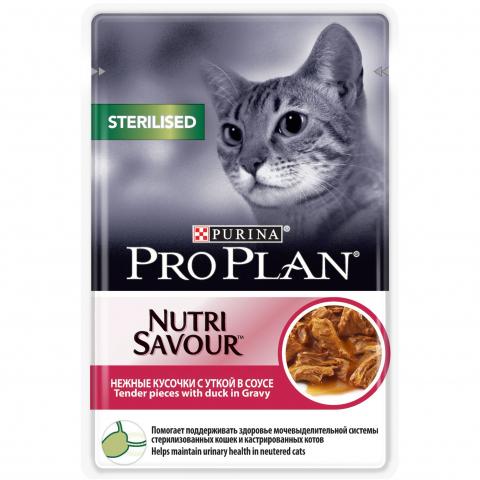 Pro Plan Nutrisavour Sterilised влажный корм для стерилизованных кошек, с уткой в соусе, 85 г.