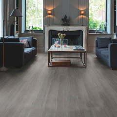 ПВХ плитка, кварц виниловый ламинат Quick Step LVT Balance Rigid Click Дуб Шелковый темно-серый RBACL40060