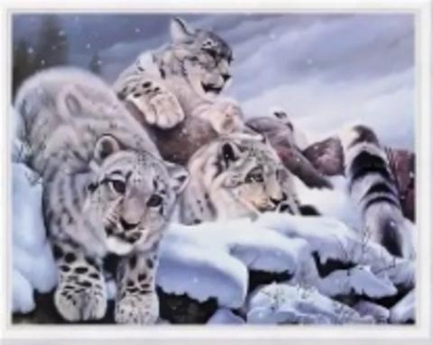 Алмазная Мозаика 40x50 Семья снежных барсов (арт. WXSA1837)