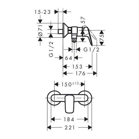 Смеситель для душа Hansgrohe Logis 71600000 схема