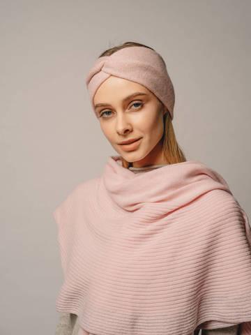Женская повязка на голову розового цвета из кашемира - фото 3