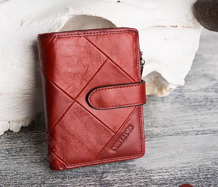 WL287-3 Красный кошелек из натуральной кожи на застежке фото 02