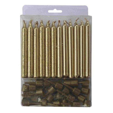 Свечи Золотые с блестками 24(12+12) шт с держателями 6 см