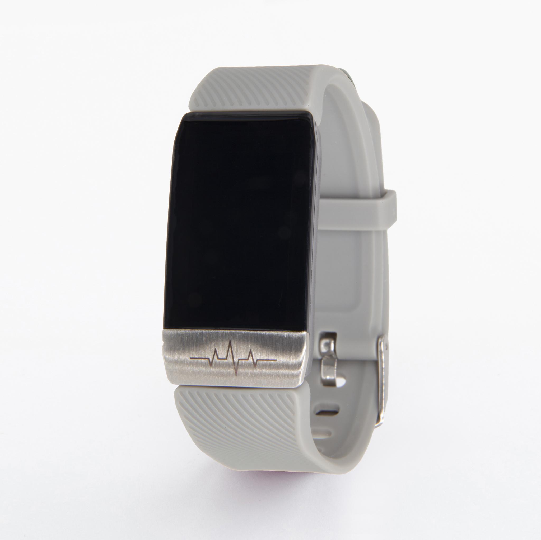 Браслет здоровья с автоматическим измерением давления, пульса, кислорода и снятием ЭКГ Health Band №1S (серый)