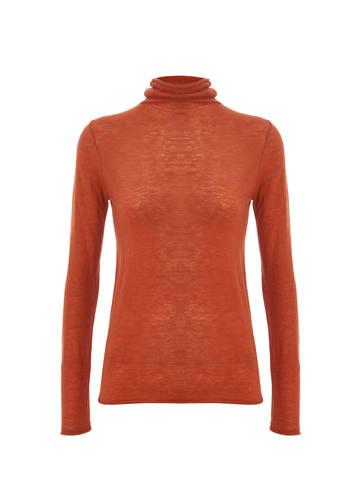 Женская водолазка оранжевого цвета из 100% шерсти - фото 1