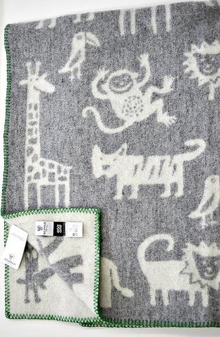 Одеяло, KLIPPAN, Джунгли, Эко-шерсть, Серый и белый, 90 х 130 см