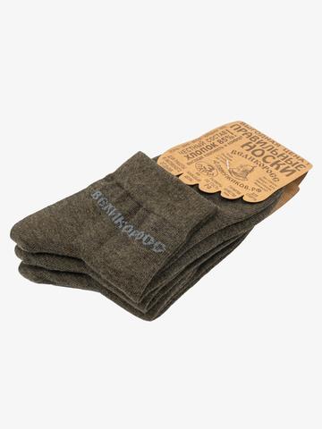 Носки короткие темно-зеленого цвета – тройная упаковка