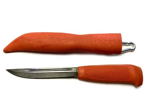 Нож Финка-043, дамасская сталь, резинопластик (цвет оранжевый), Русский булат