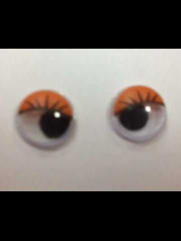 Глазки бегающие клеевые с ресницами оранжевые 10мм (2 шт)