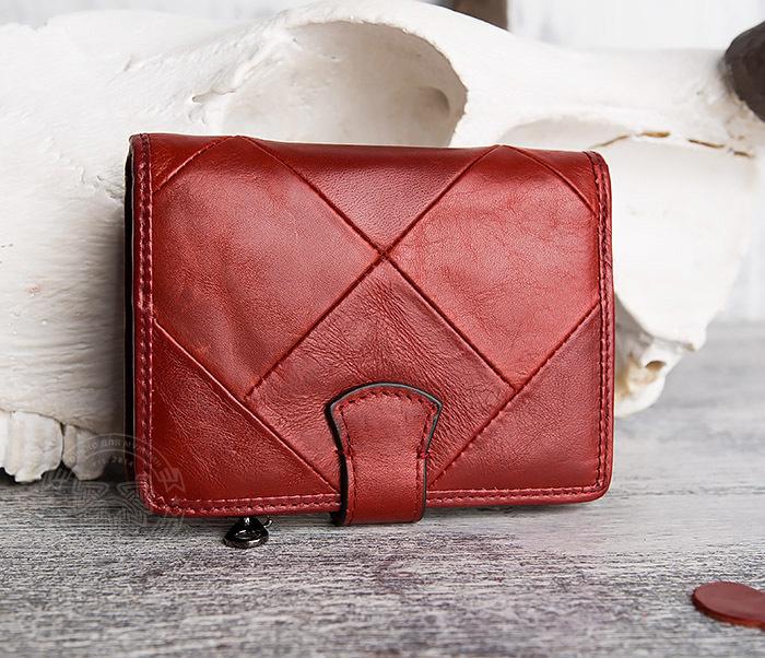 WL287-3 Красный кошелек из натуральной кожи на застежке фото 04