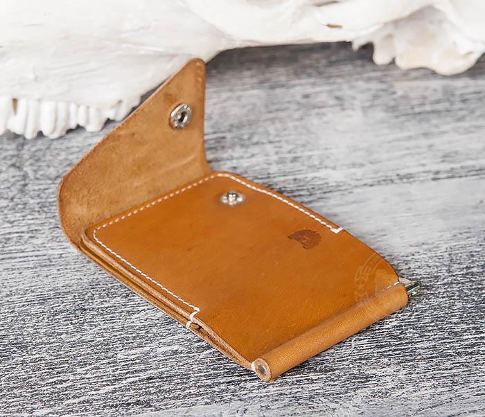 WB165-2 Тонкий кожаный зажим для купюр ручной работы фото 02