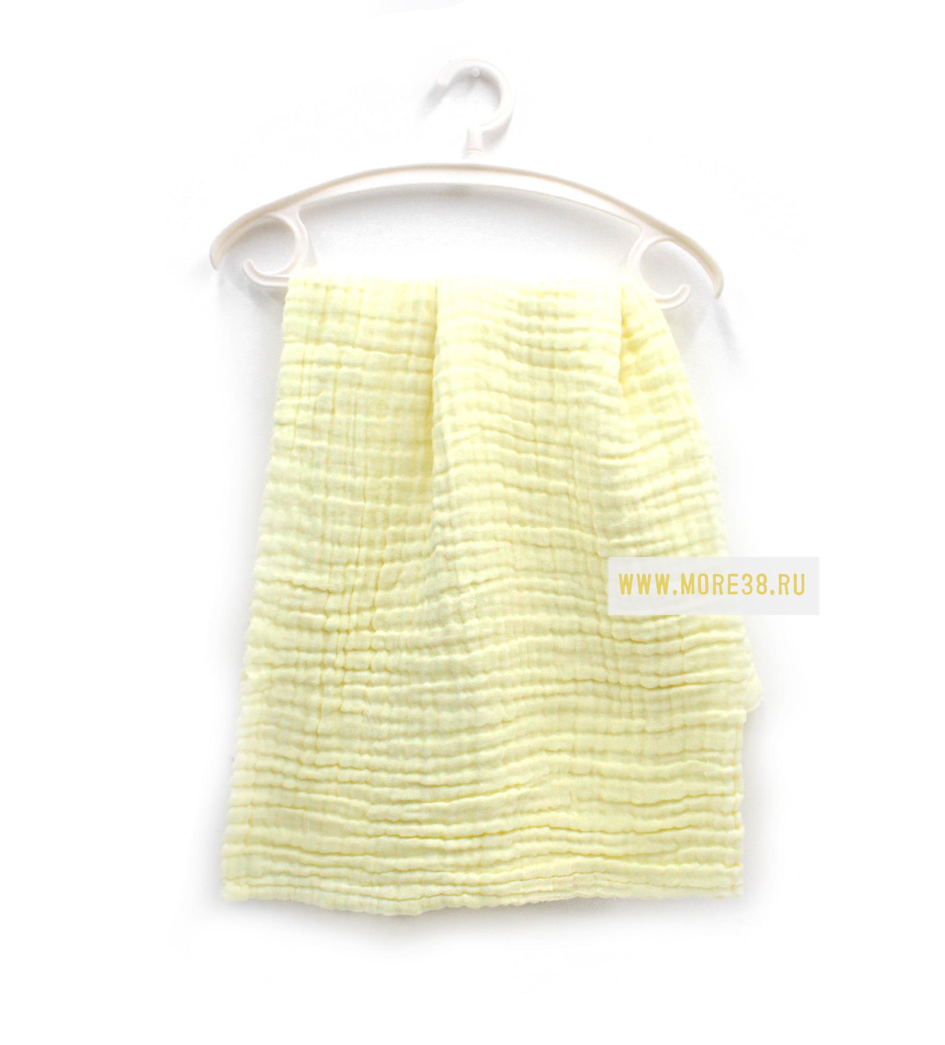 Муслиновое одеялко,6 слоёв-желтое(100х100 см)