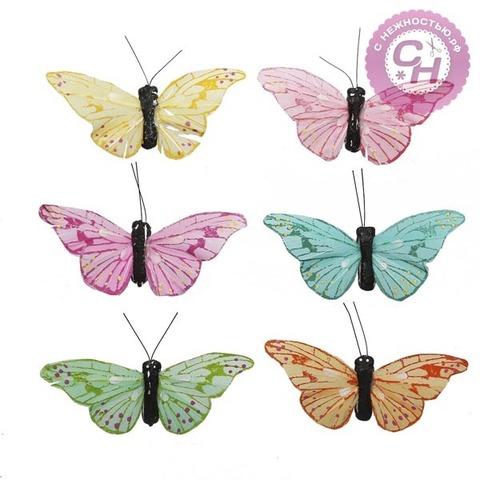 Бабочки декоративные, перьевые, 7 см, 1 шт.