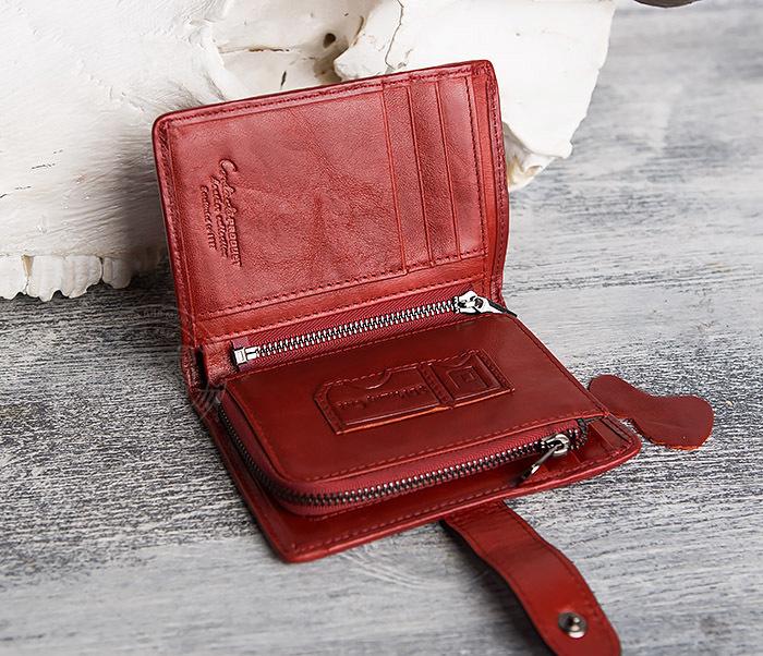 WL287-3 Красный кошелек из натуральной кожи на застежке фото 05