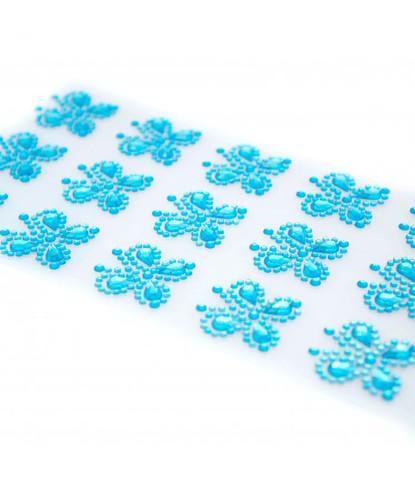 Стразы самоклеющиеся бабочки голубые 15 шт