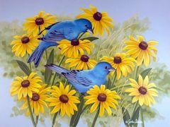 Картина раскраска по номерам 30x40 Синие птицы в цветах