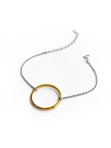 Серебряный браслет на цепочке с позолоченным кольцом 20 мм