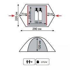 Палатка Tramp Lite Tourist 2 (зеленый) - 2
