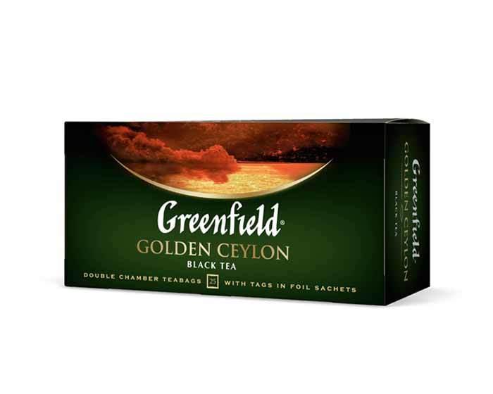 Чай черный в пакетиках из фольги Greenfield Golden Ceylon, 25 пак/уп