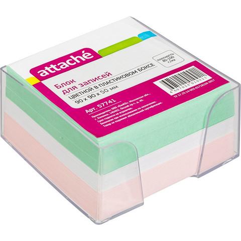 Блок для записей Attache 90x90x50 мм разноцветный в боксе (плотность 80-100 г/кв.м)