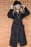 Черный махровый халат с капюшоном Luna di Giorno