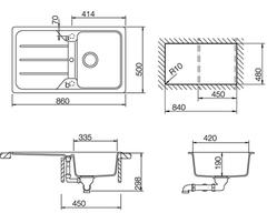 Мойка кухонная TEKA Simpla 45B-TG - схема