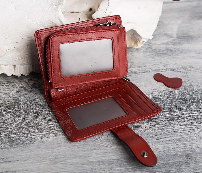 WL287-3 Красный кошелек из натуральной кожи на застежке фото 06