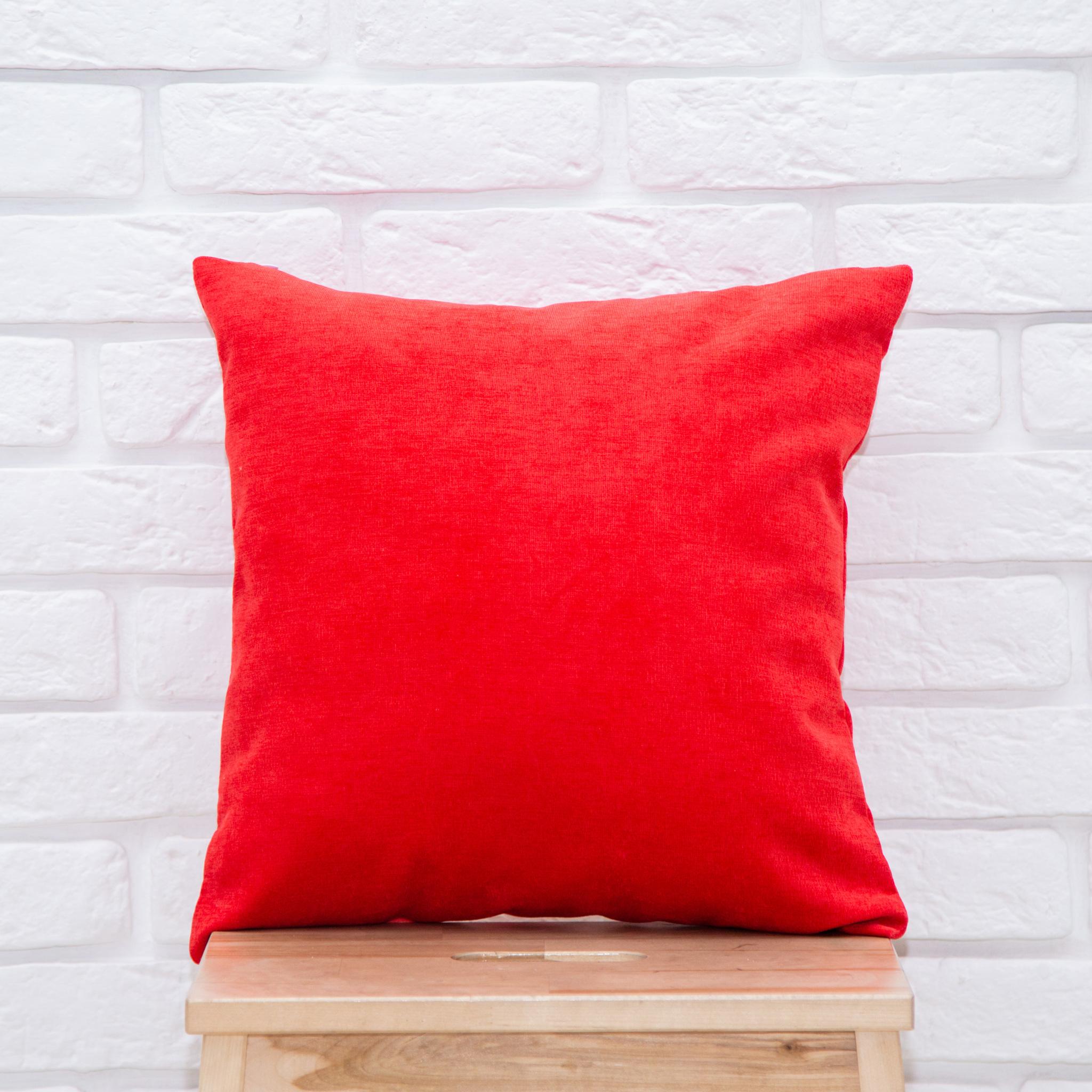 Подушка 40*40 микровельвет (красная)